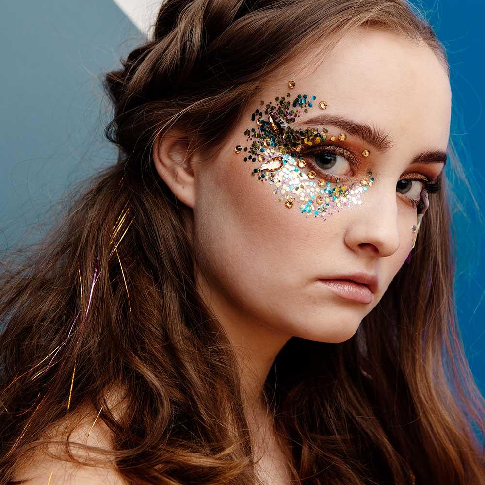 Ecoglitter on models face,
