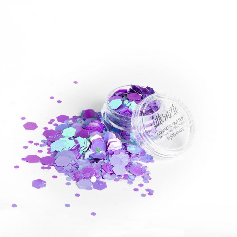 Ibiza XL on vaaleanlila kosmetiikka glitter.