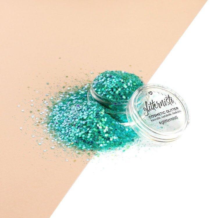 iridescent mint glitter makeup