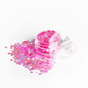 Pink cosmetic glitter for your skin.