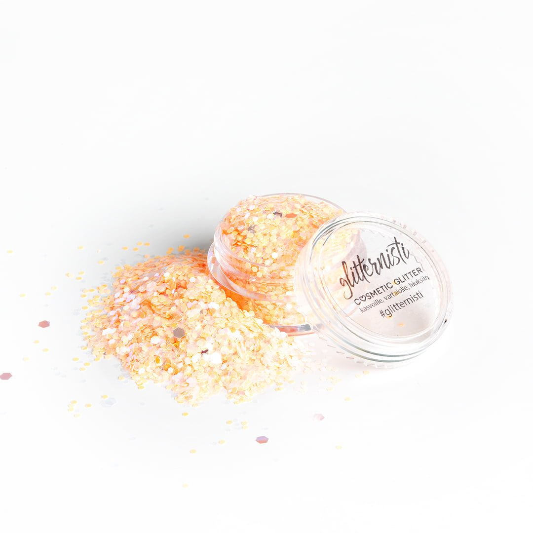 peachy coral cosmetic glitter