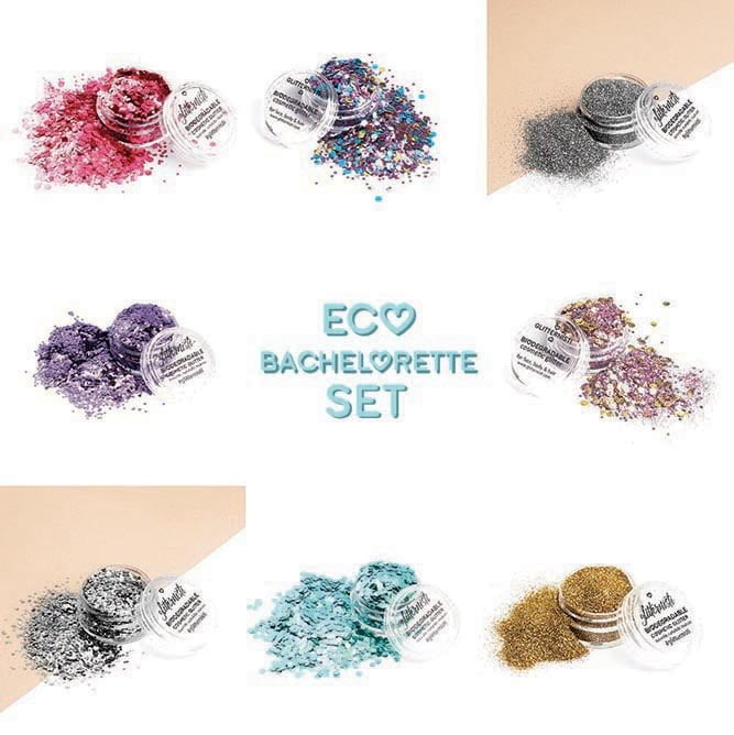 bachelorette glitter set with biodegradable glitter