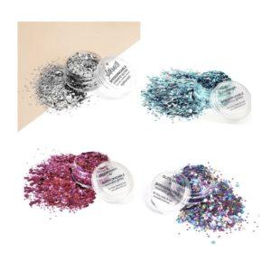 Eco Earthlings ekoglittersetti sisältää neljä kosmetiikka glitteriä