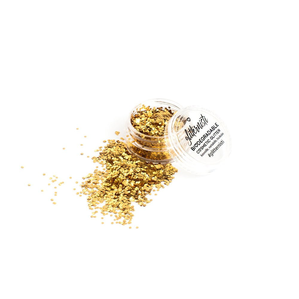 Gold ecoglitter is golden biodegradable glitter sold in a jar.