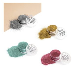 Fine ecoglitter set includes four biodegradable cosmetic glitters.
