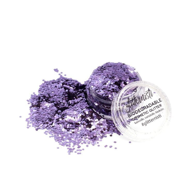 Eco lilac ecoglitter is purple biodegradable glitter in 5 ml jar.