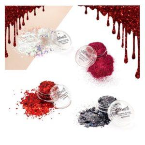 Bloody glittersetti Halloween meikkiin sisältää neljä kosmetiikka glitteriä.
