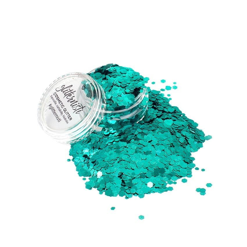 glitter for face jade bomb turquoise