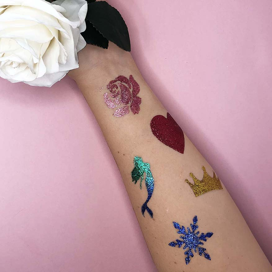 Princess themed glitter tattoos.