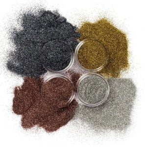 Holographic cosmetic glitter set includes four glitter jars.