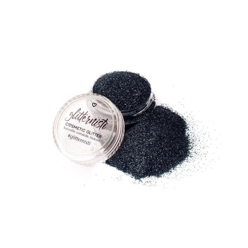 Only Black glitter on musta kosmetiikka glitter purkissa.