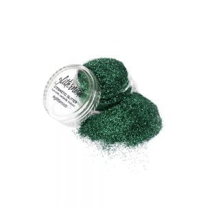 Only green cosmetic glitter jar.