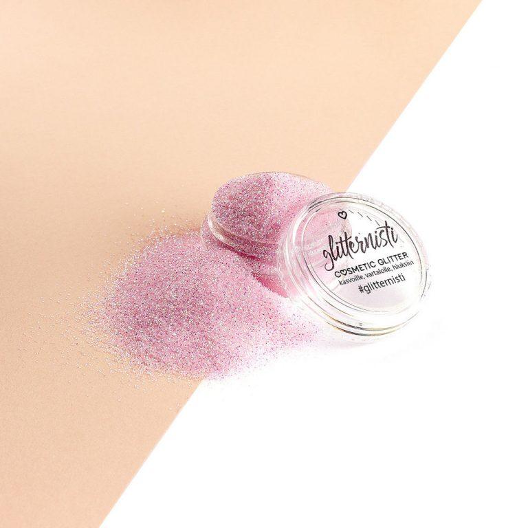 Vaaleanpunainen hienojakoinen glitter meikkiin.