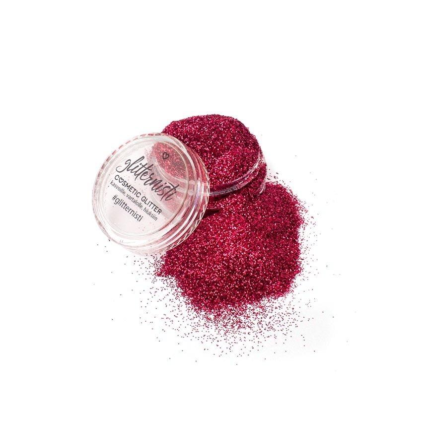 Only Red glitter on punainen hienojakoinen kosmetiikka glitter.
