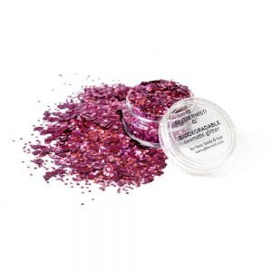 Red Velvet ecoglitter is biodegradable cosmetic glitter sold in a jar.