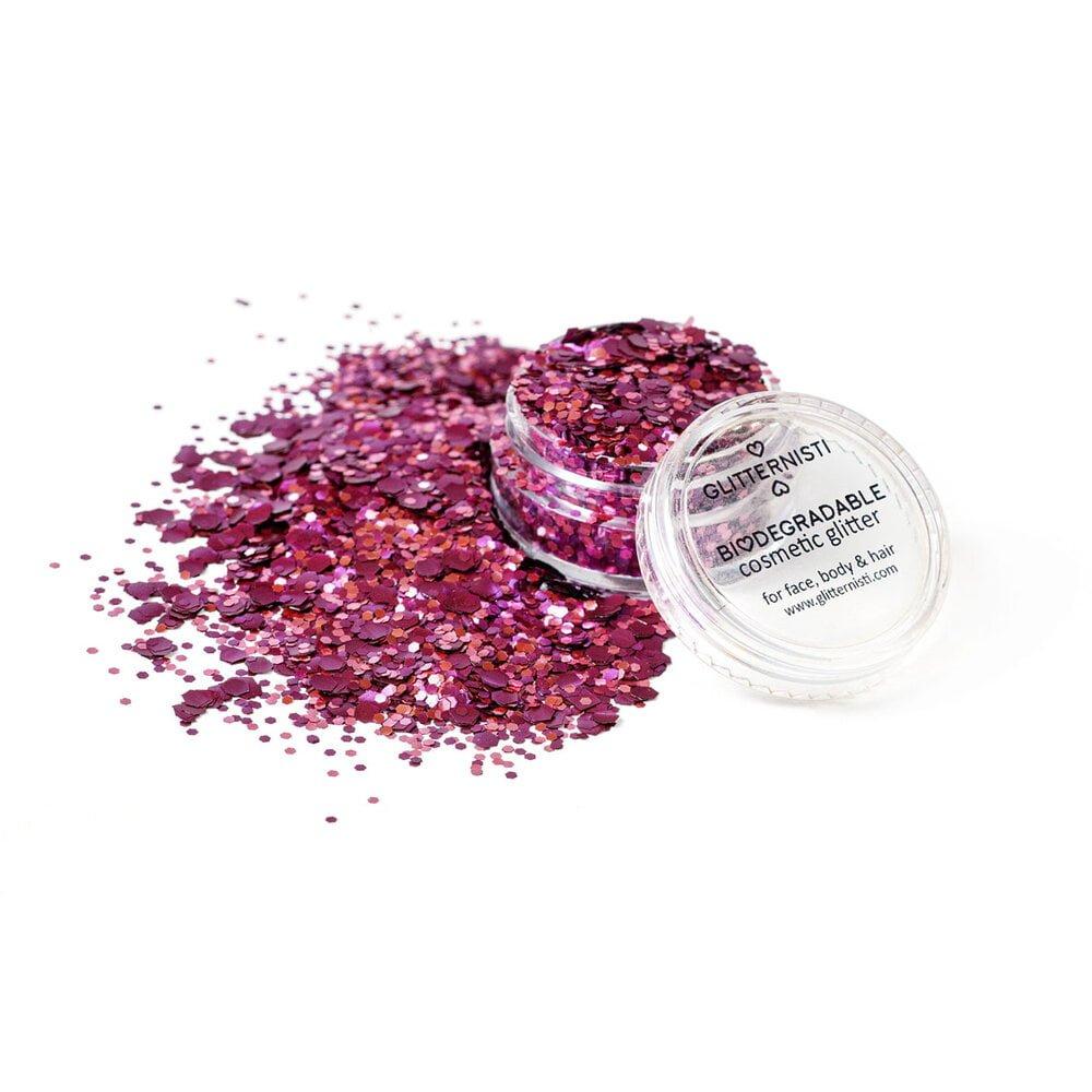 Red Velvet ecoglitter is biodegradable cosmetic glitter sold in a jar.
