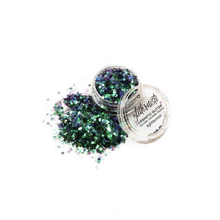 Rios cosmetic glitter is dark green glitter for face.