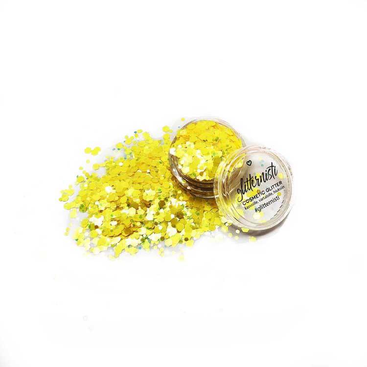 keltainen kosmetiikka glitter.