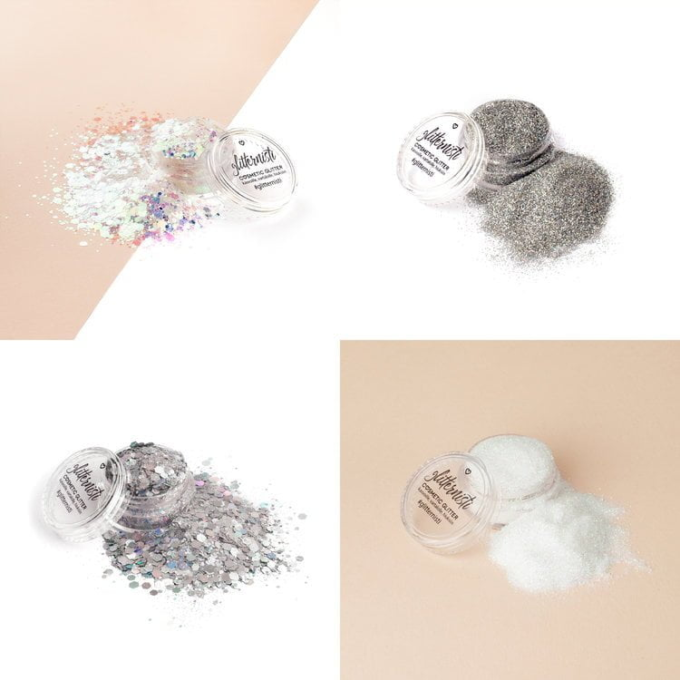 Silver cosmetic glitter set includes four different glitters.