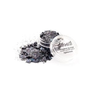 black cosmetic glitter