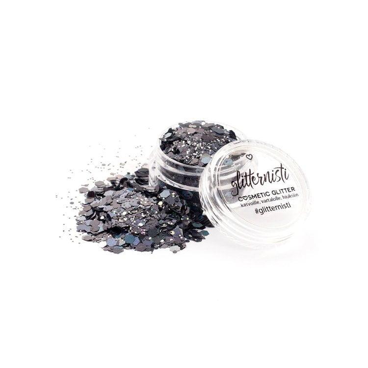 Musta kosmetiikka glitter.