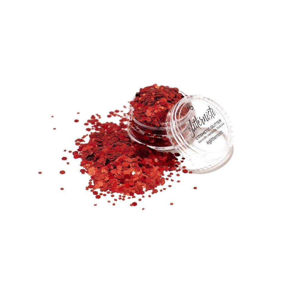 punainen kosmetiikka glitter