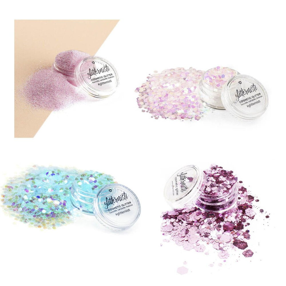 Wonderland cosmetic glitter set includes four different glitters.