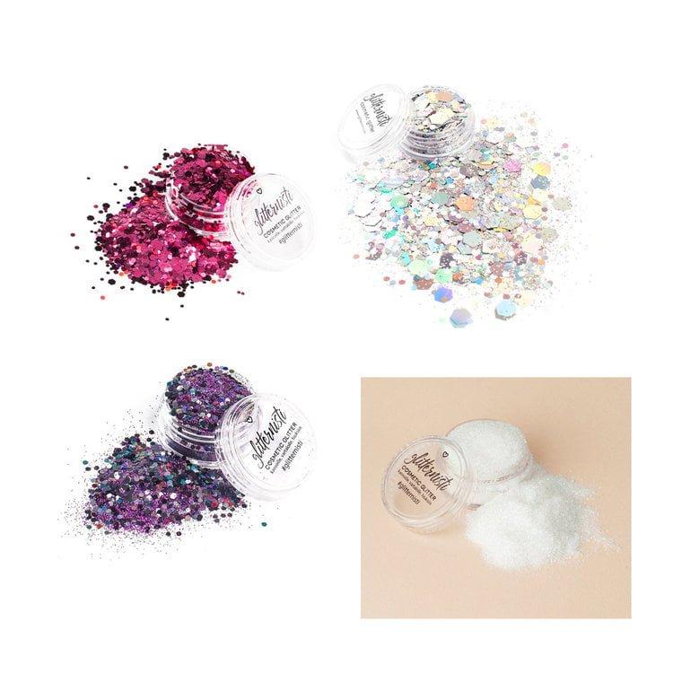 purple rain cosmetic glitter set includes four glitters.