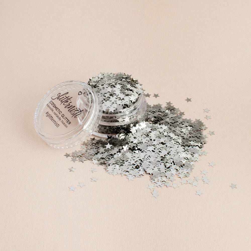 Mini Silver Star glitter on hopean värinen.