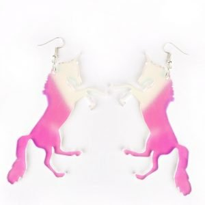 Unicorn earrings in iridescent acrylic.