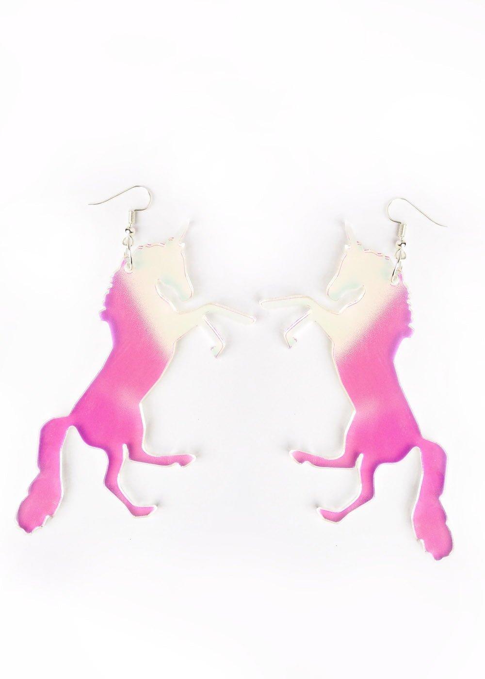 Unicorn earrings in iridescent acrylic.