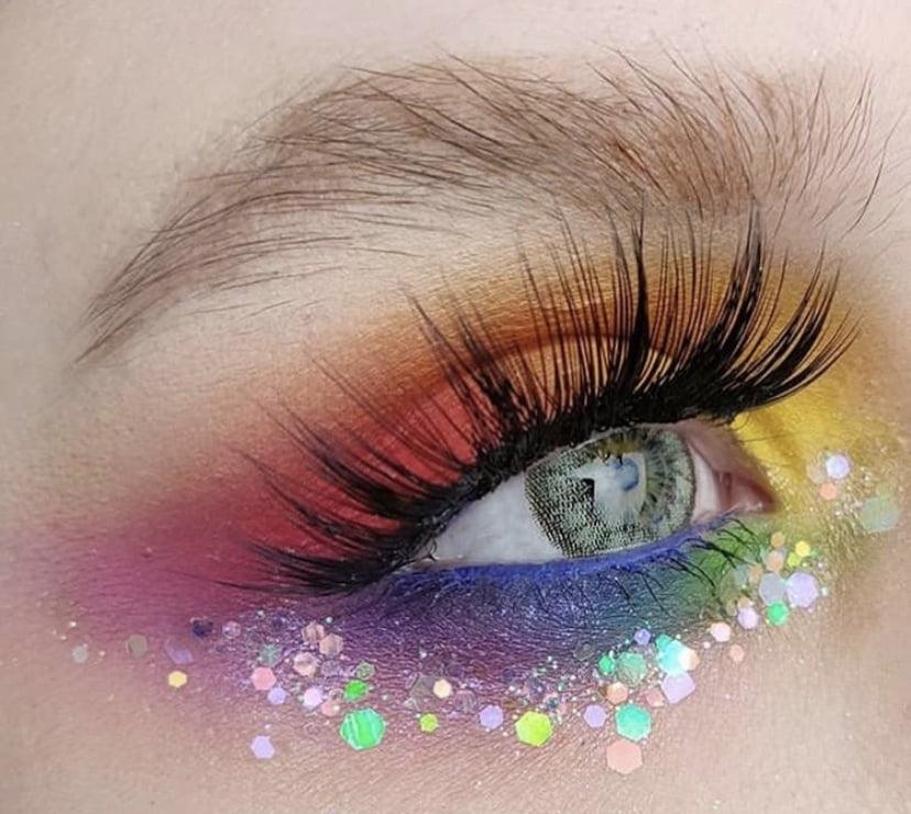 Rainbow glittermeikki