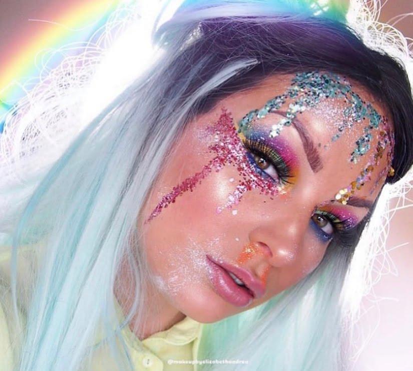 Rainbow glitter meikki