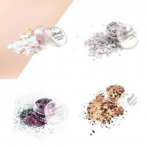 Raven glitter set includes four different cosmetic glitters.