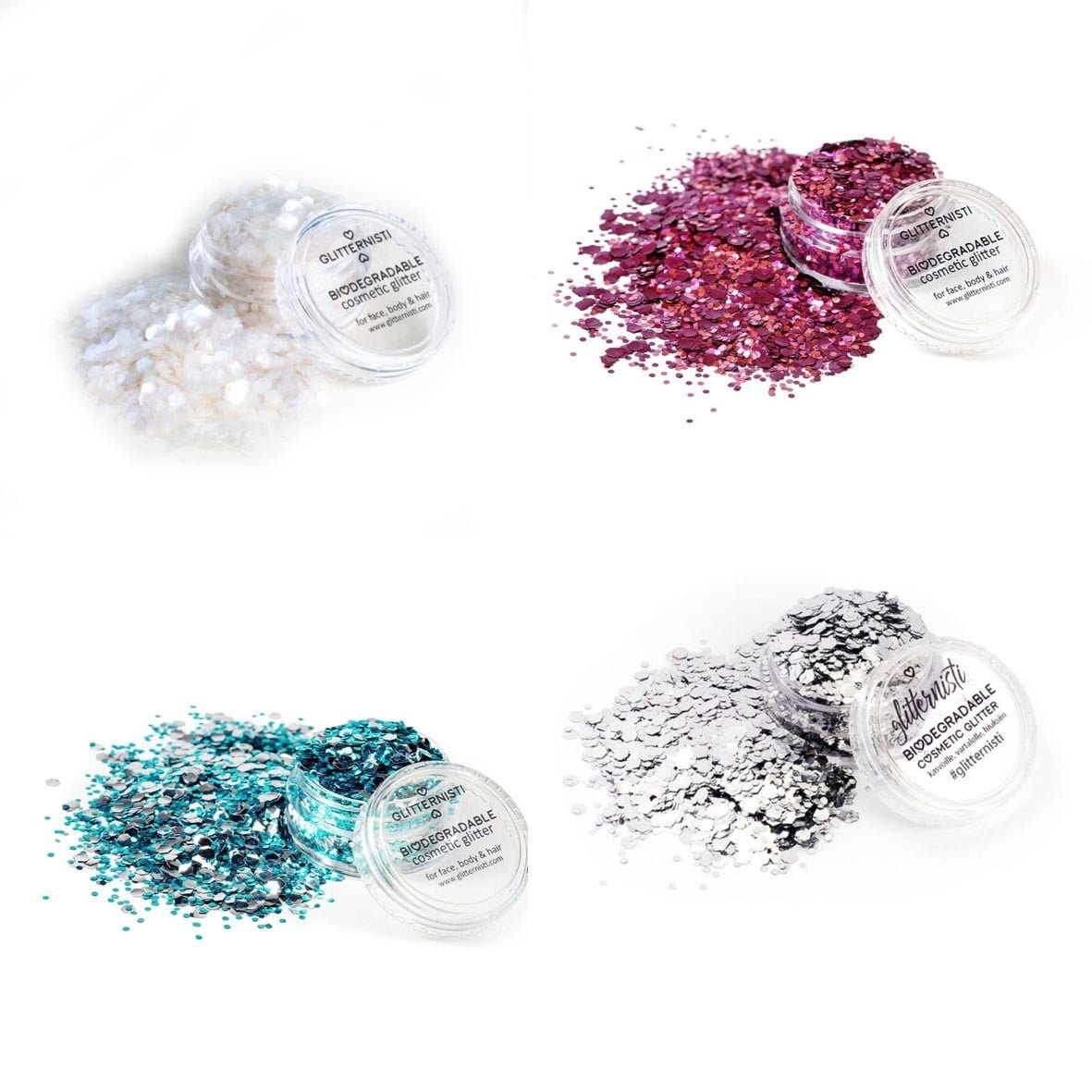 Eco Fall Glitter set includes four cosmetic glitters.