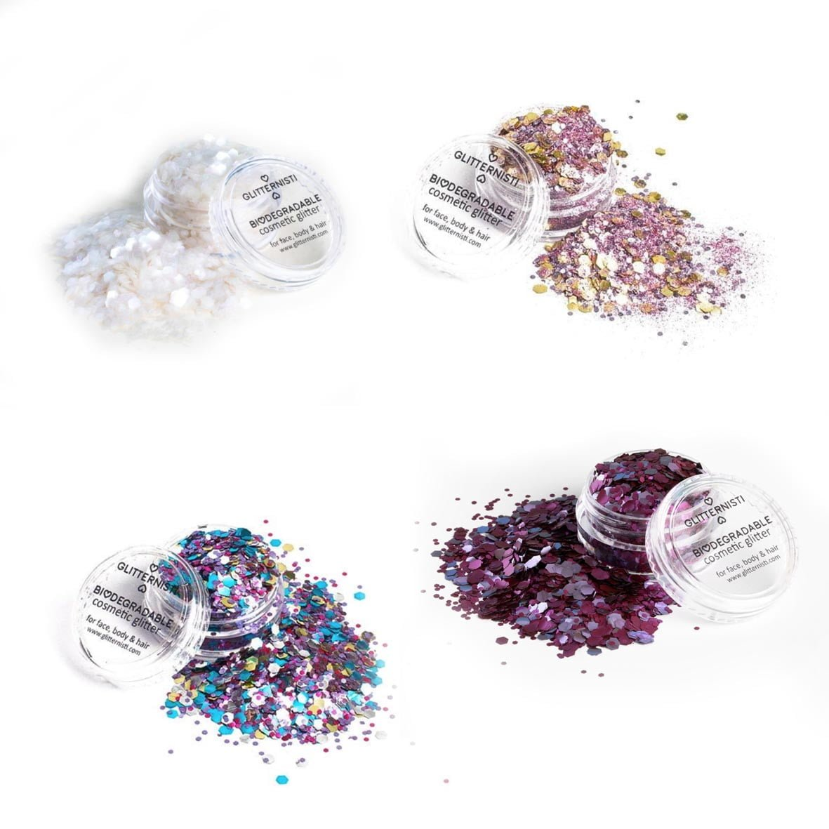 Eco Plum glittersetti sisältää neljä biohajoavaa glitteriä.