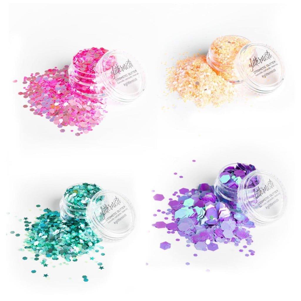 Pastel glittersetti sisältää neljä glitteriä kosmeettiseen käyttöön.