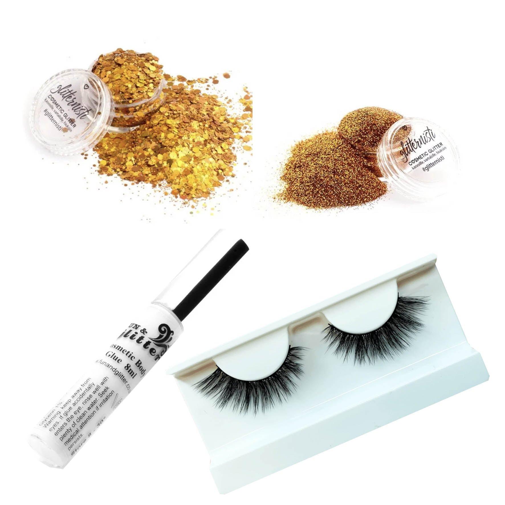Glitter ripset paketti sisältää glitteriä, liimaa ja tekoripset.
