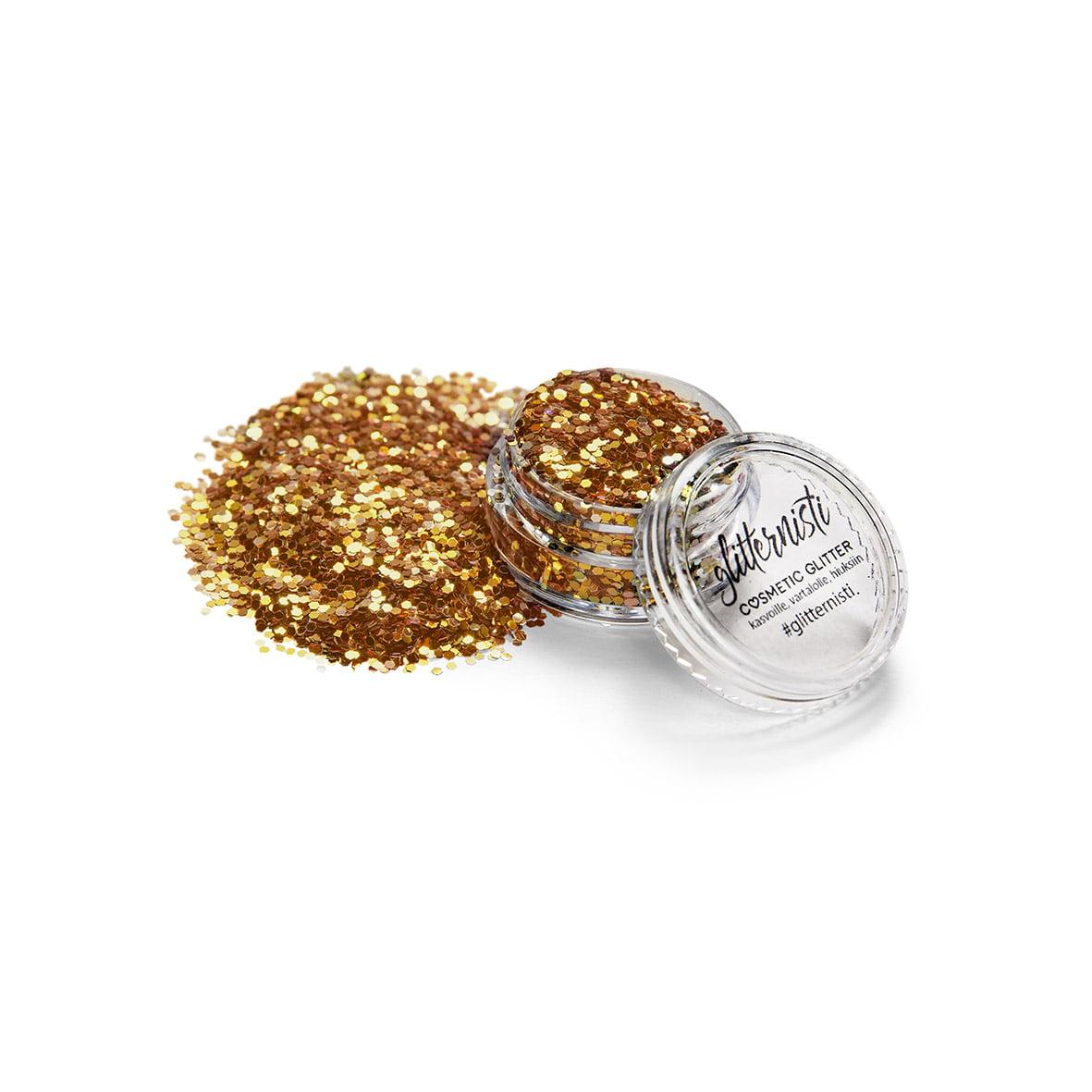 Gold Flake glitter on tarkoitettu kosmeettiseen käyttöön.
