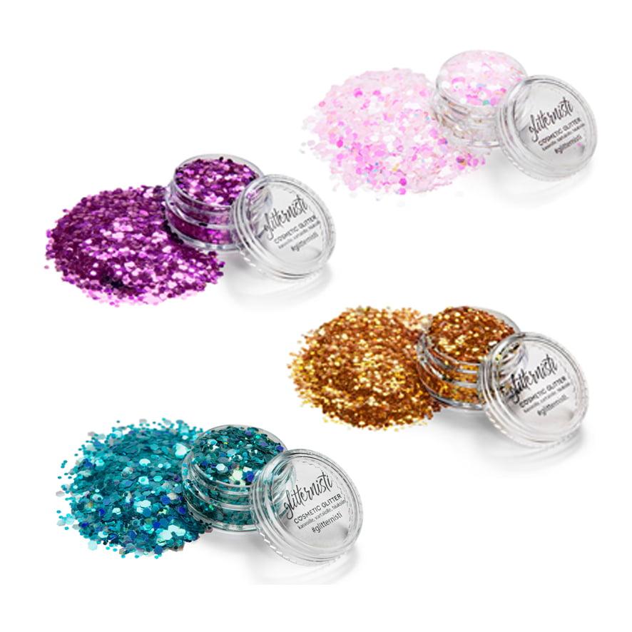 Magic Drop glittersetti sisältää neljä kosmeettista glitteriä.