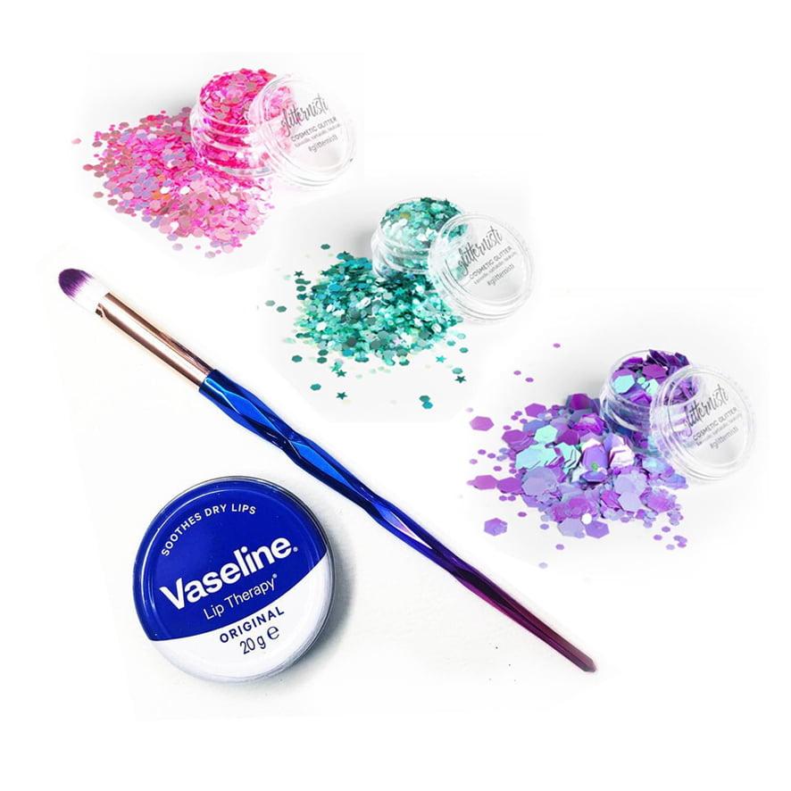Pastels glitter aloituspaketti glittermeikkaamiseen.